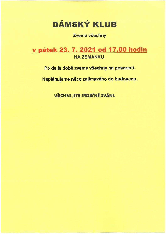 Dámský klub – 23.7.2021